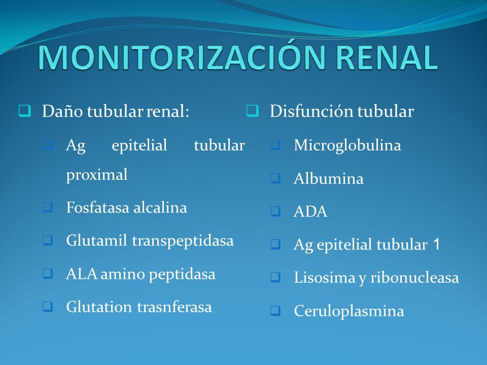 MONITORIZACIÓN RENAL Daño tubular renal: Disfunción tubular