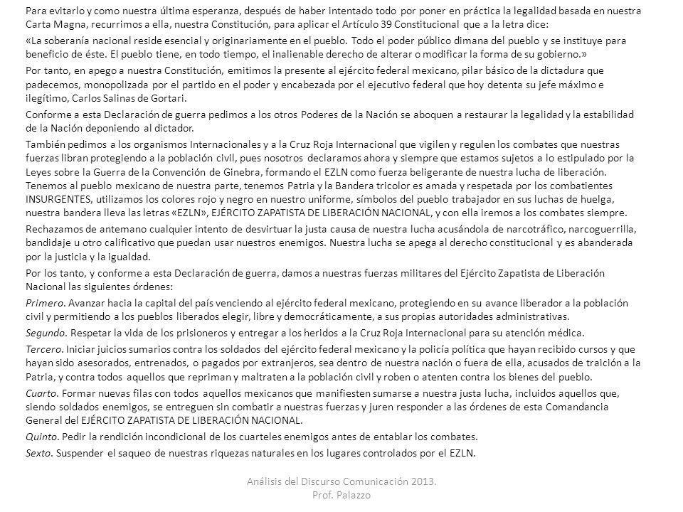Análisis del Discurso Comunicación 2013. Prof. Palazzo