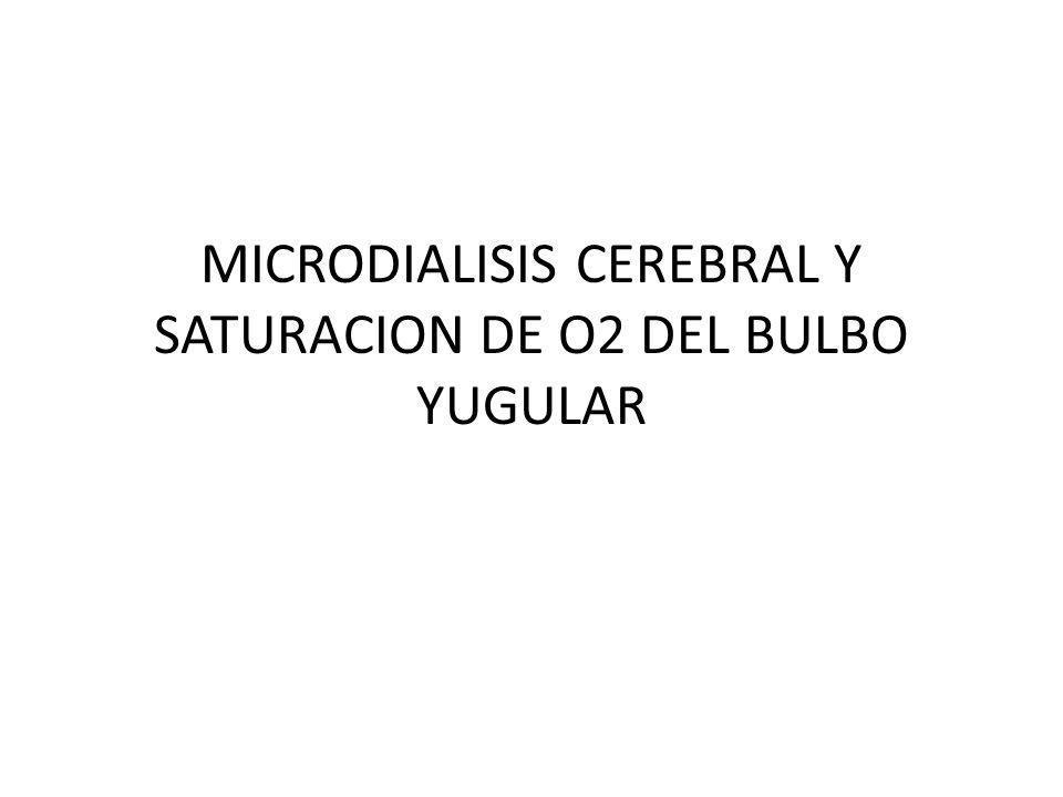 MICRODIALISIS CEREBRAL Y SATURACION DE O2 DEL BULBO YUGULAR
