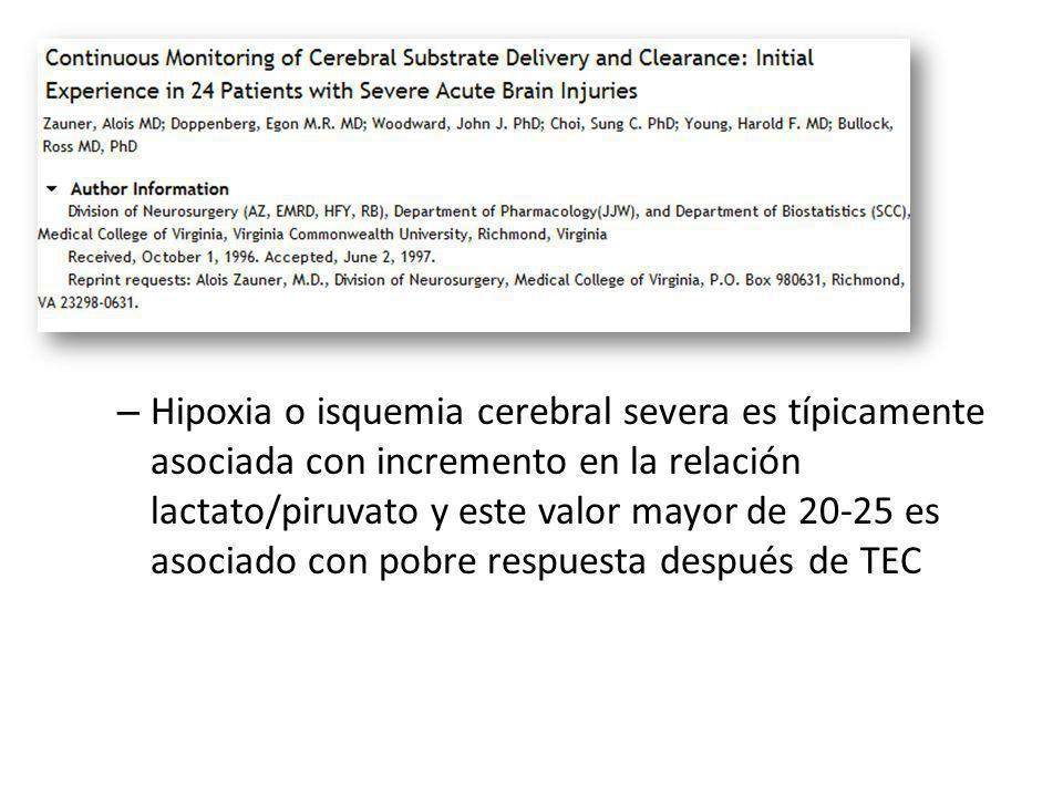 Hipoxia o isquemia cerebral severa es típicamente asociada con incremento en la relación lactato/piruvato y este valor mayor de 20-25 es asociado con pobre respuesta después de TEC