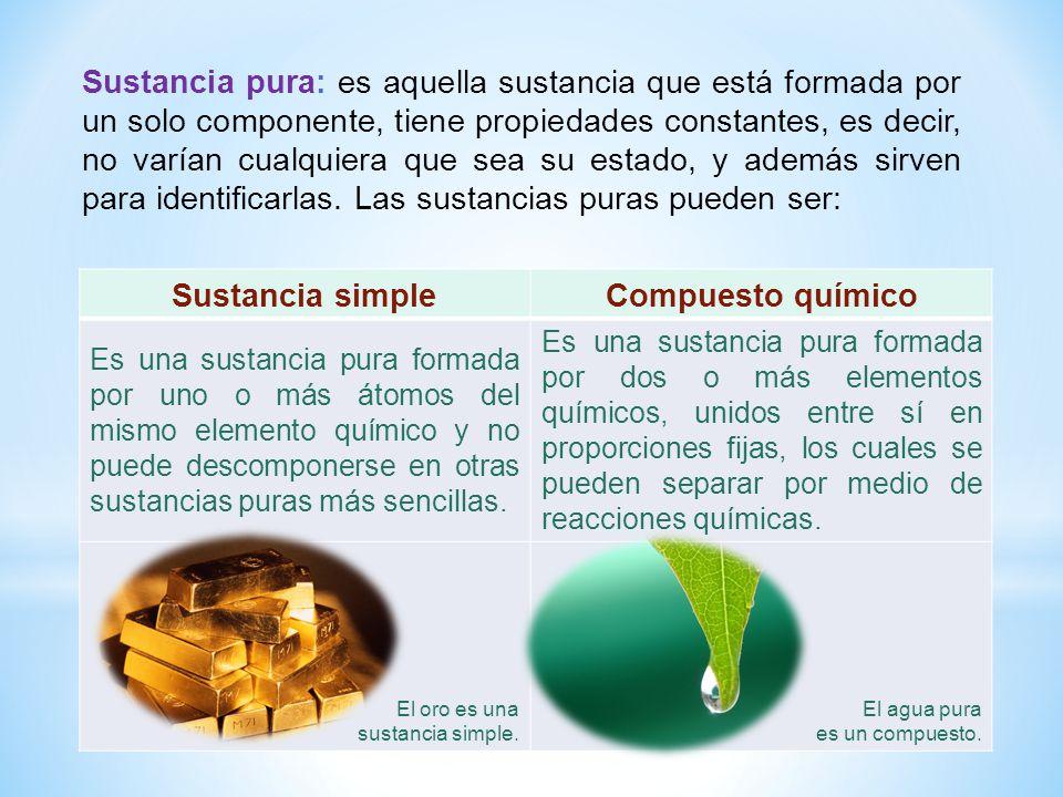 Sustancia pura: es aquella sustancia que está formada por un solo componente, tiene propiedades constantes, es decir, no varían cualquiera que sea su estado, y además sirven para identificarlas. Las sustancias puras pueden ser: