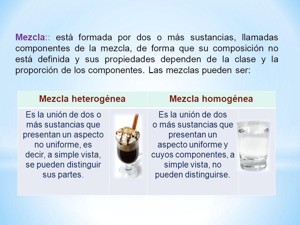 Mezcla heterogénea Mezcla homogénea