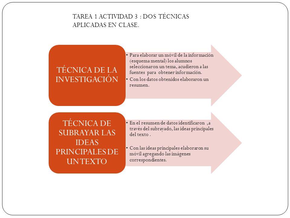 TAREA 1 ACTIVIDAD 3 : DOS TÉCNICAS APLICADAS EN CLASE.