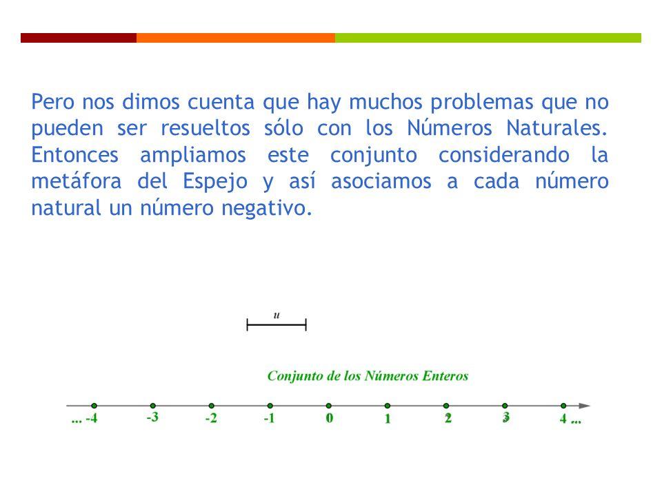 Pero nos dimos cuenta que hay muchos problemas que no pueden ser resueltos sólo con los Números Naturales.