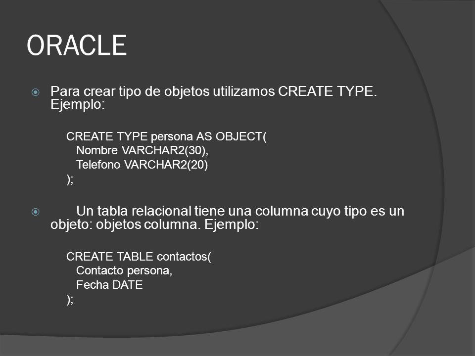 ORACLE Para crear tipo de objetos utilizamos CREATE TYPE. Ejemplo: