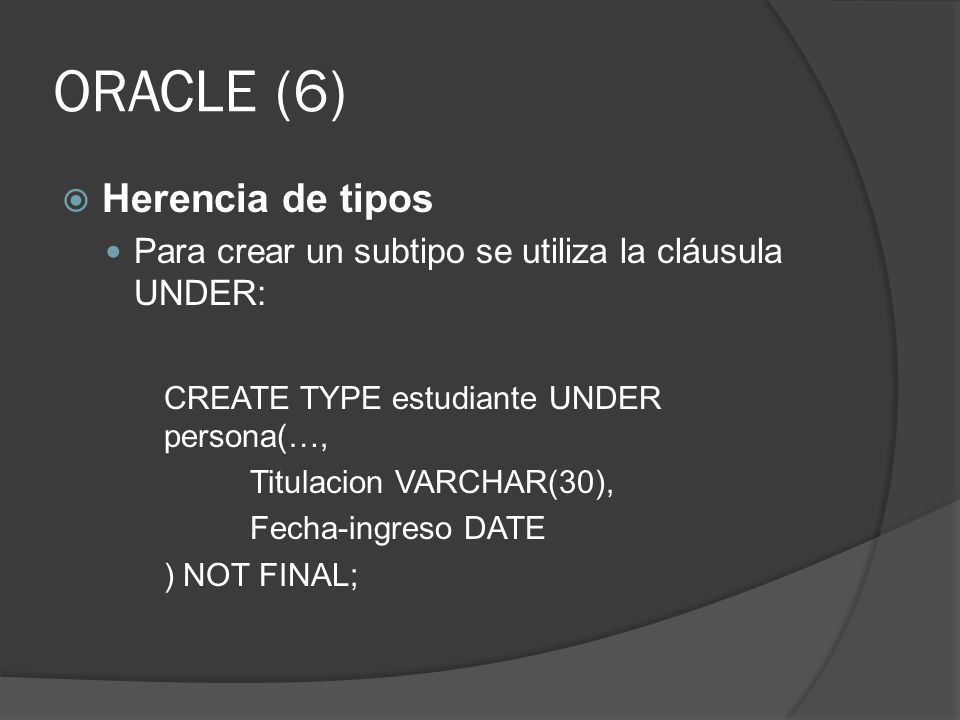 ORACLE (6) Herencia de tipos