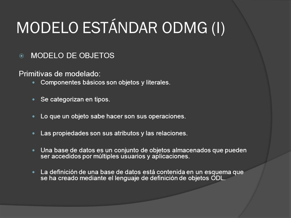 MODELO ESTÁNDAR ODMG (I)