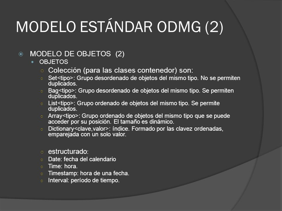 MODELO ESTÁNDAR ODMG (2)