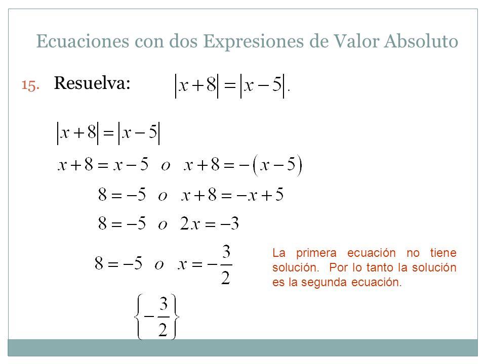 Ecuaciones con dos Expresiones de Valor Absoluto