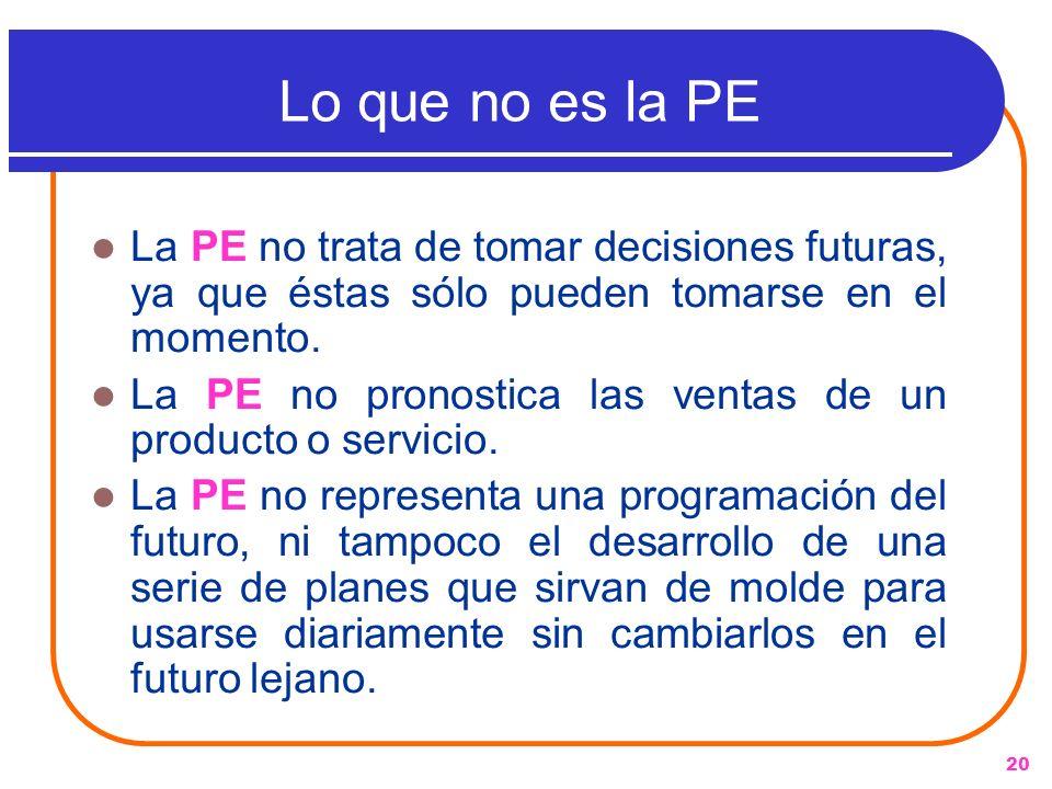 Lo que no es la PE La PE no trata de tomar decisiones futuras, ya que éstas sólo pueden tomarse en el momento.