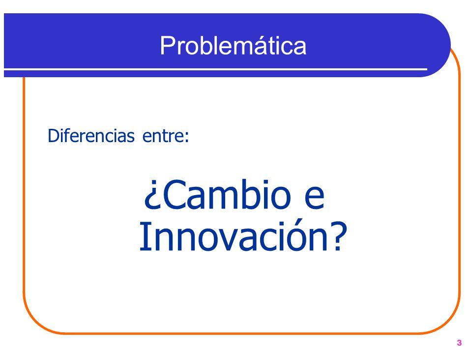 Problemática Diferencias entre: ¿Cambio e Innovación