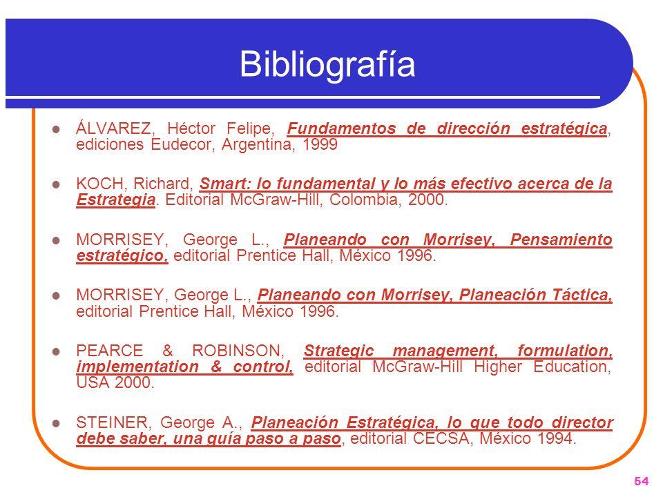 Bibliografía ÁLVAREZ, Héctor Felipe, Fundamentos de dirección estratégica, ediciones Eudecor, Argentina, 1999.