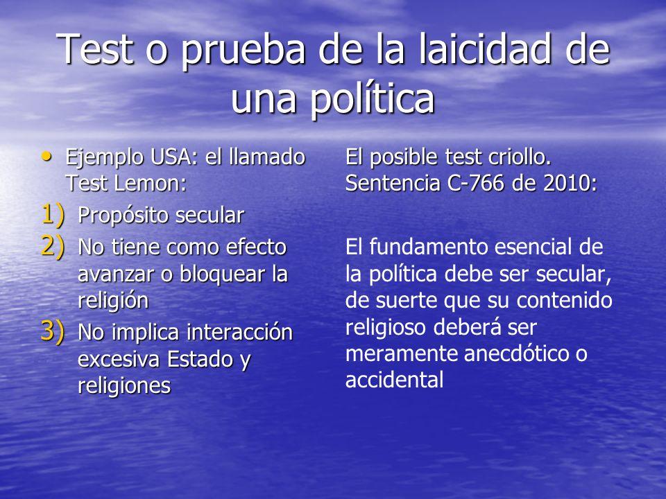 Test o prueba de la laicidad de una política