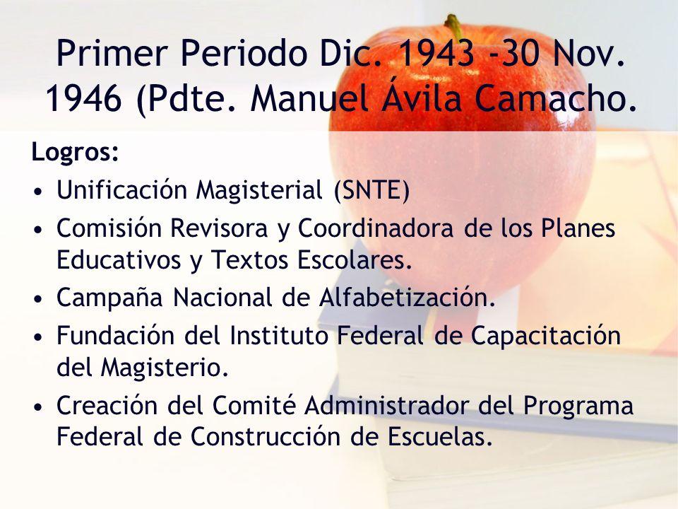 Primer Periodo Dic. 1943 -30 Nov. 1946 (Pdte. Manuel Ávila Camacho.