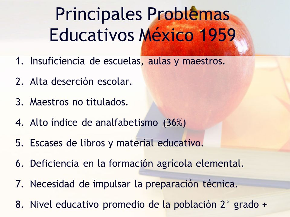 Principales Problemas Educativos México 1959