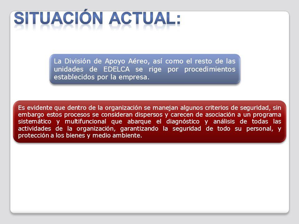 Situación actual: La División de Apoyo Aéreo, así como el resto de las unidades de EDELCA se rige por procedimientos establecidos por la empresa.