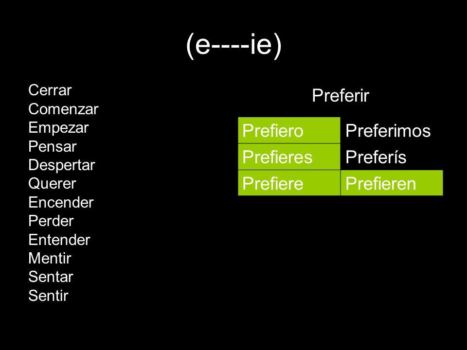 (e----ie) Preferir Prefiero Preferimos Prefieres Preferís Prefiere