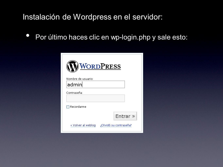 Instalación de Wordpress en el servidor: