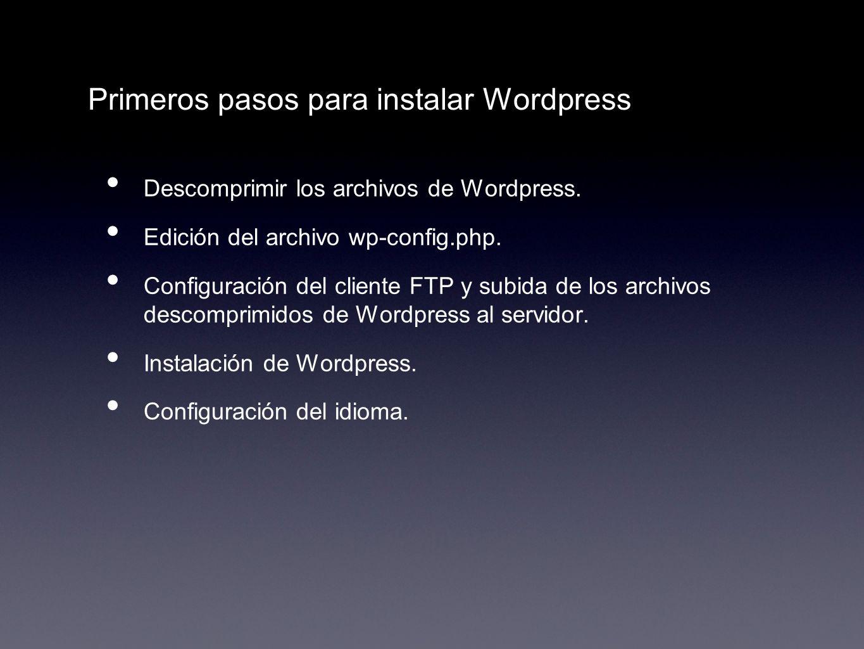 Primeros pasos para instalar Wordpress