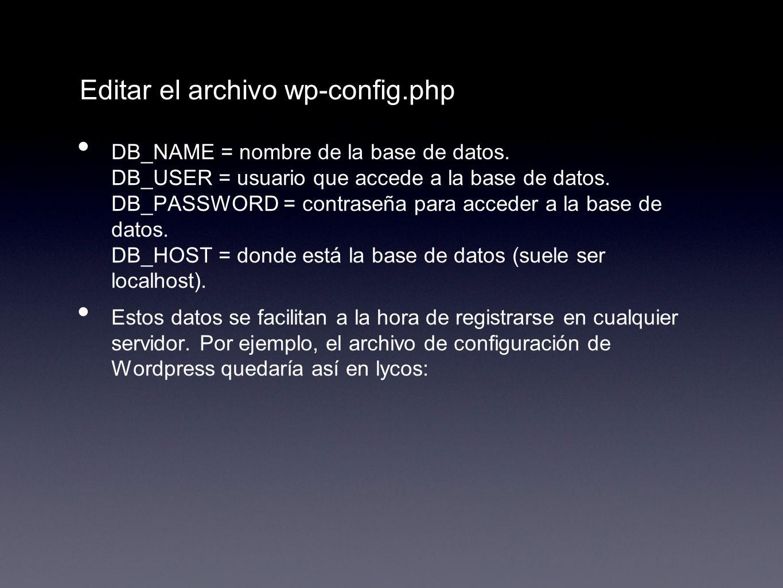 Editar el archivo wp-config.php