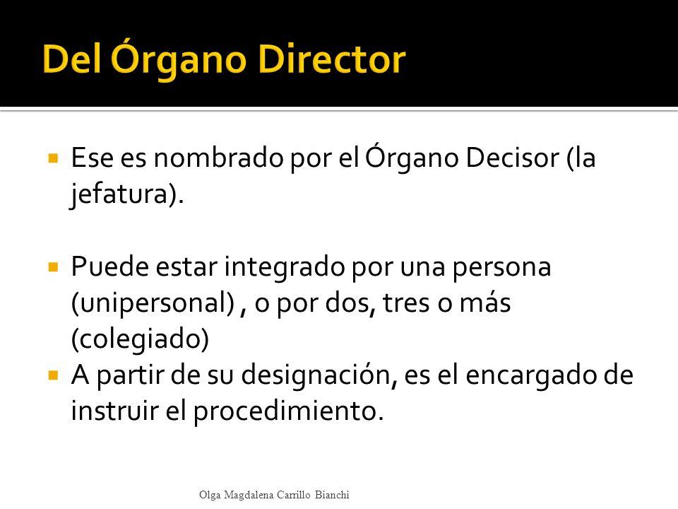 Del Órgano Director Ese es nombrado por el Órgano Decisor (la jefatura).