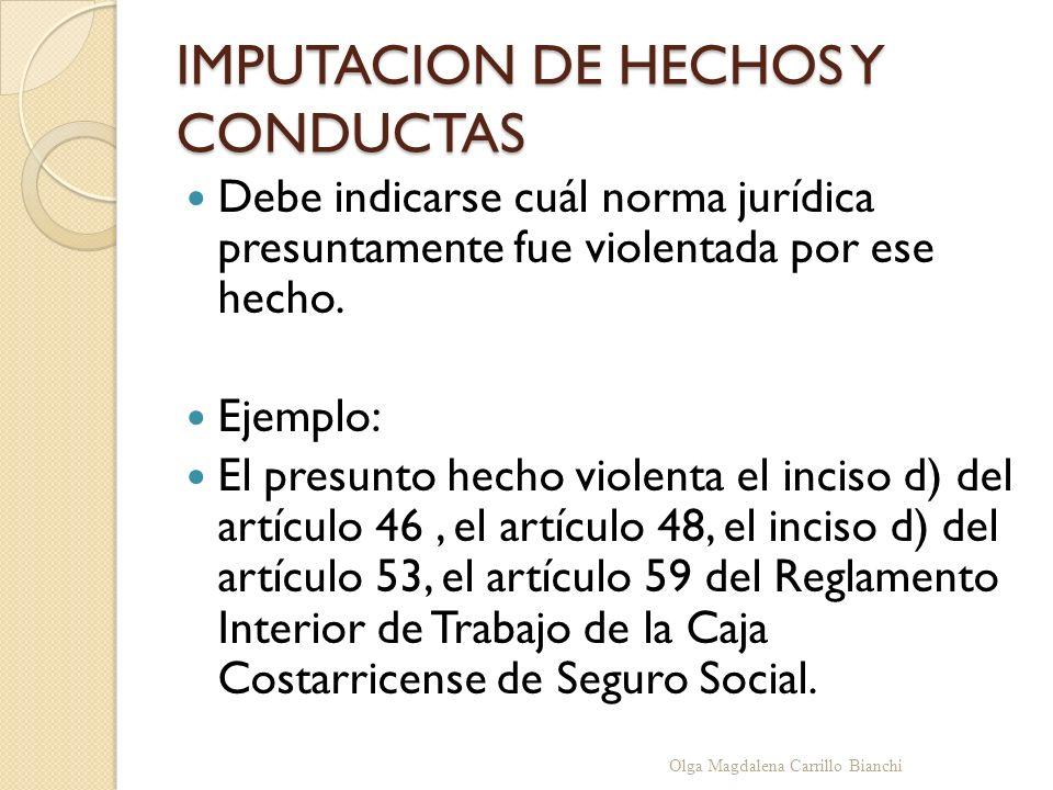 IMPUTACION DE HECHOS Y CONDUCTAS