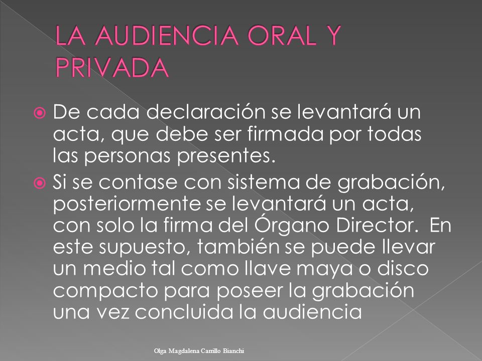 LA AUDIENCIA ORAL Y PRIVADA