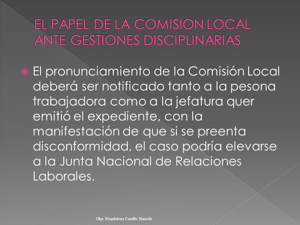 EL PAPEL DE LA COMISION LOCAL ANTE GESTIONES DISCIPLINARIAS
