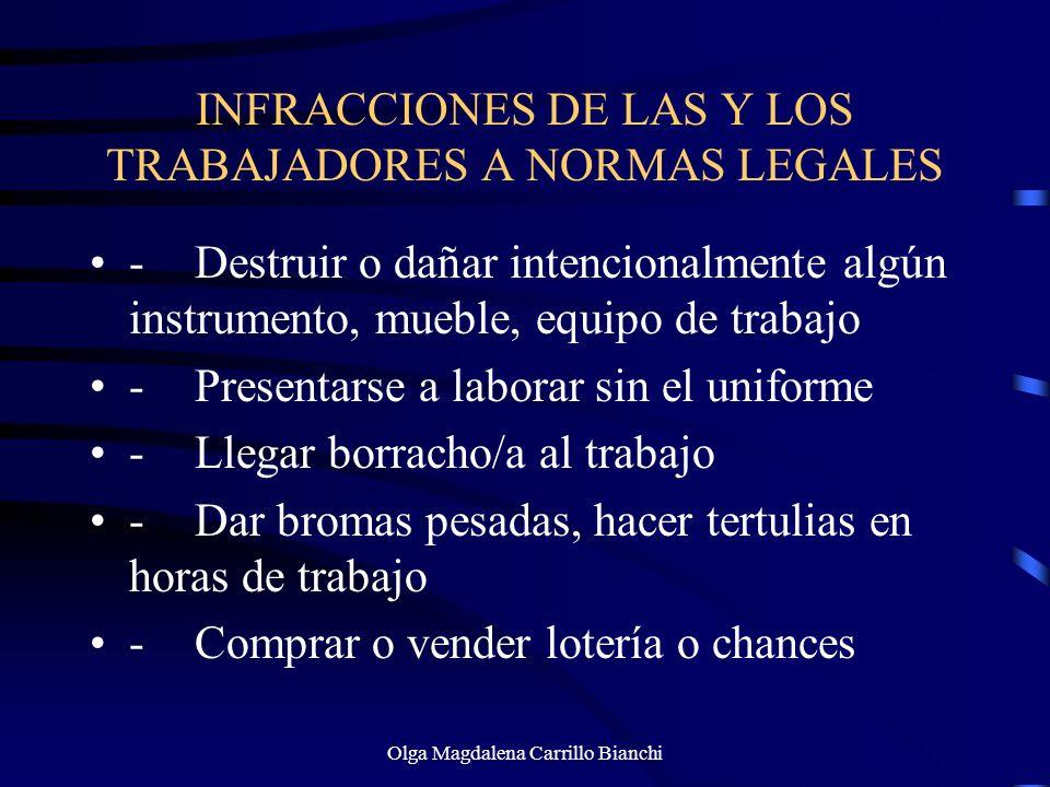 INFRACCIONES DE LAS Y LOS TRABAJADORES A NORMAS LEGALES