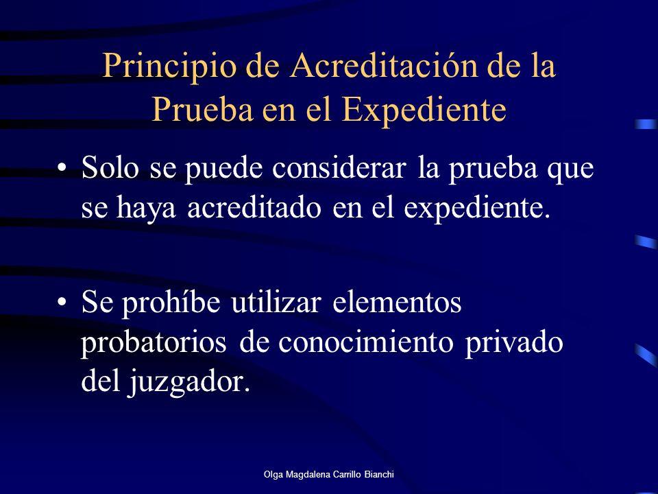 Principio de Acreditación de la Prueba en el Expediente