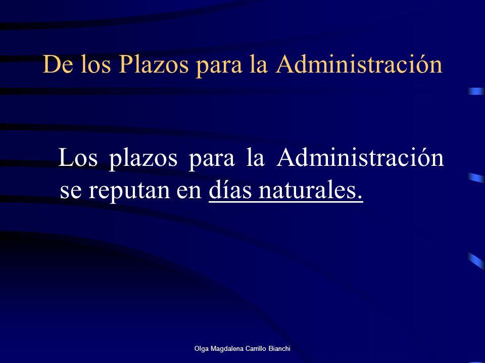 De los Plazos para la Administración