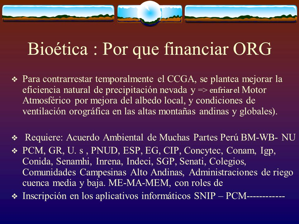 Bioética : Por que financiar ORG