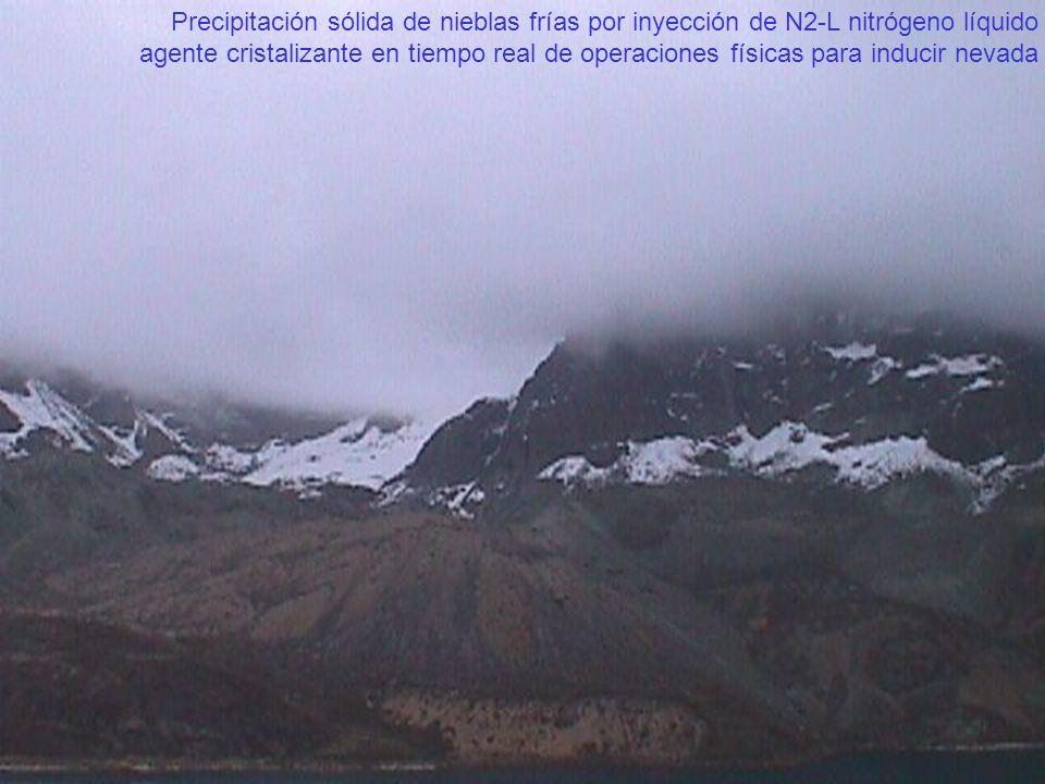 Precipitación sólida de nieblas frías por inyección de N2-L nitrógeno líquido agente cristalizante en tiempo real de operaciones físicas para inducir nevada