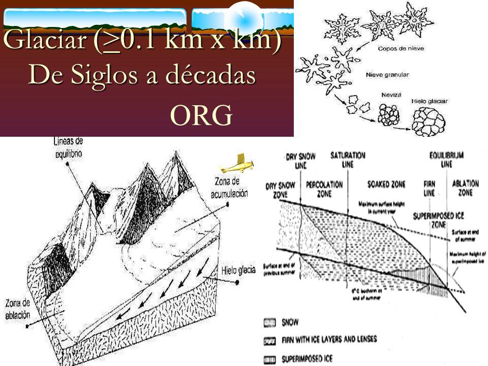 Glaciar (>0.1 km x km) De Siglos a décadas