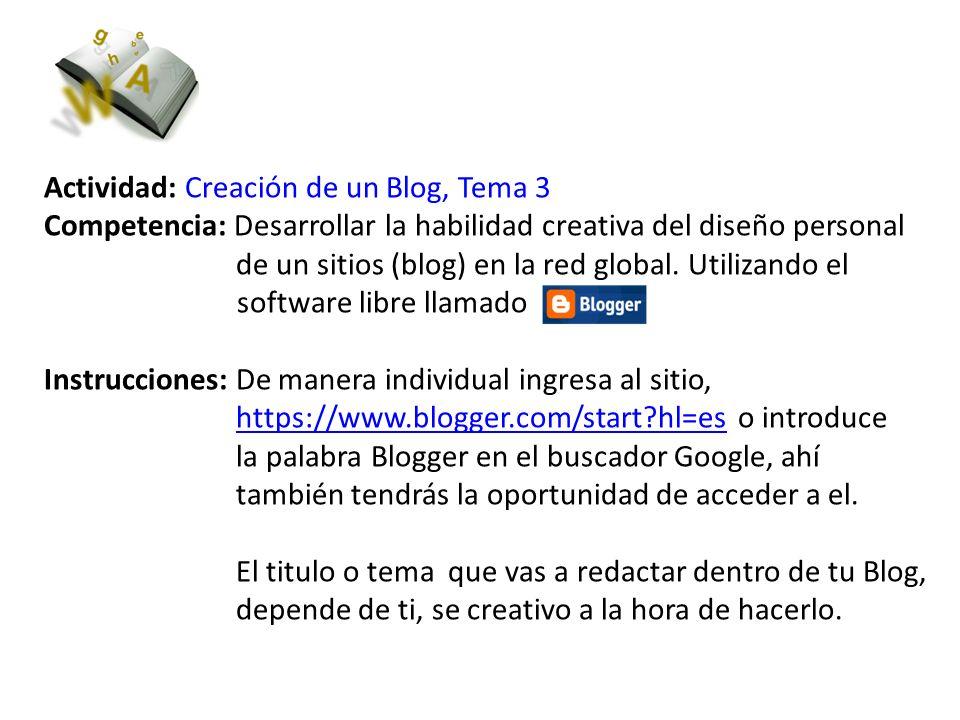 Actividad: Creación de un Blog, Tema 3
