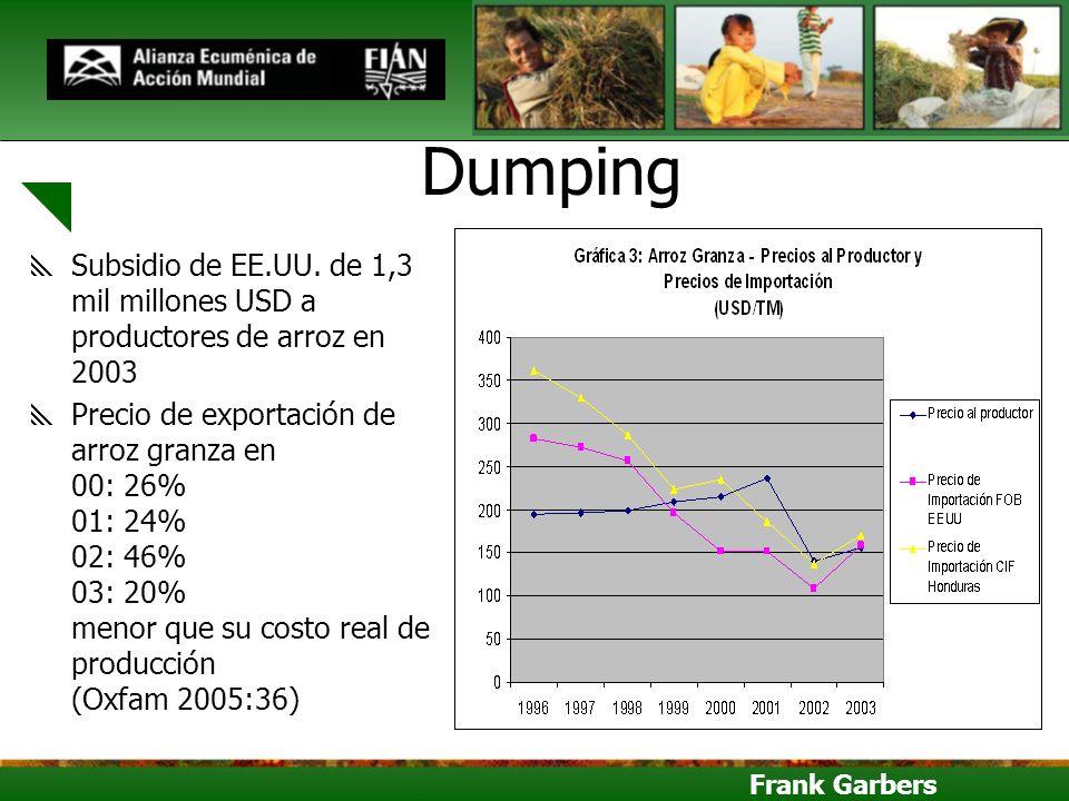 Dumping Subsidio de EE.UU. de 1,3 mil millones USD a productores de arroz en 2003.