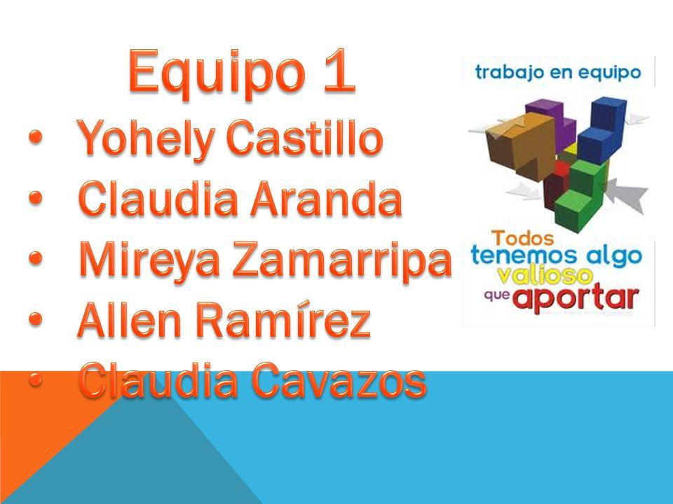 Equipo 1 Yohely Castillo Claudia Aranda Mireya Zamarripa Allen Ramírez