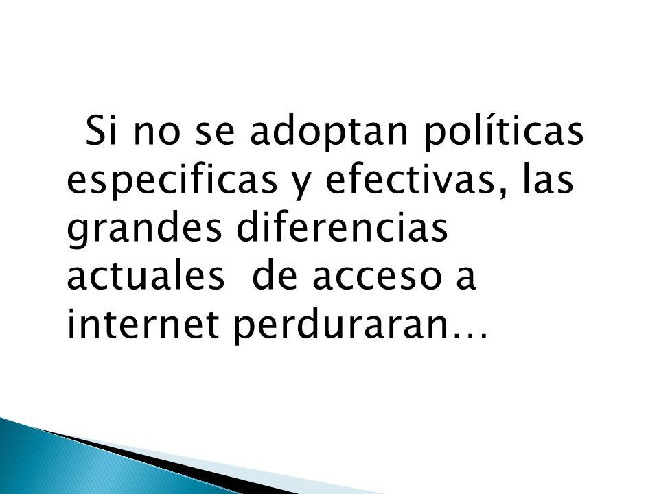 Si no se adoptan políticas especificas y efectivas, las grandes diferencias actuales de acceso a internet perduraran…