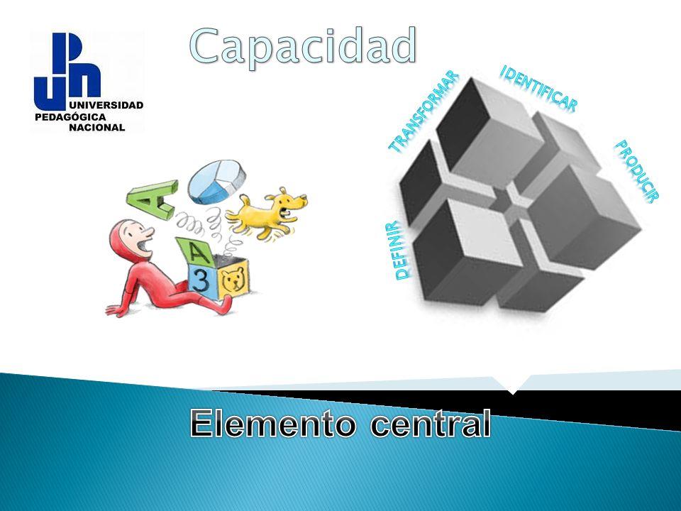 Capacidad Identificar transformar producir definir Elemento central