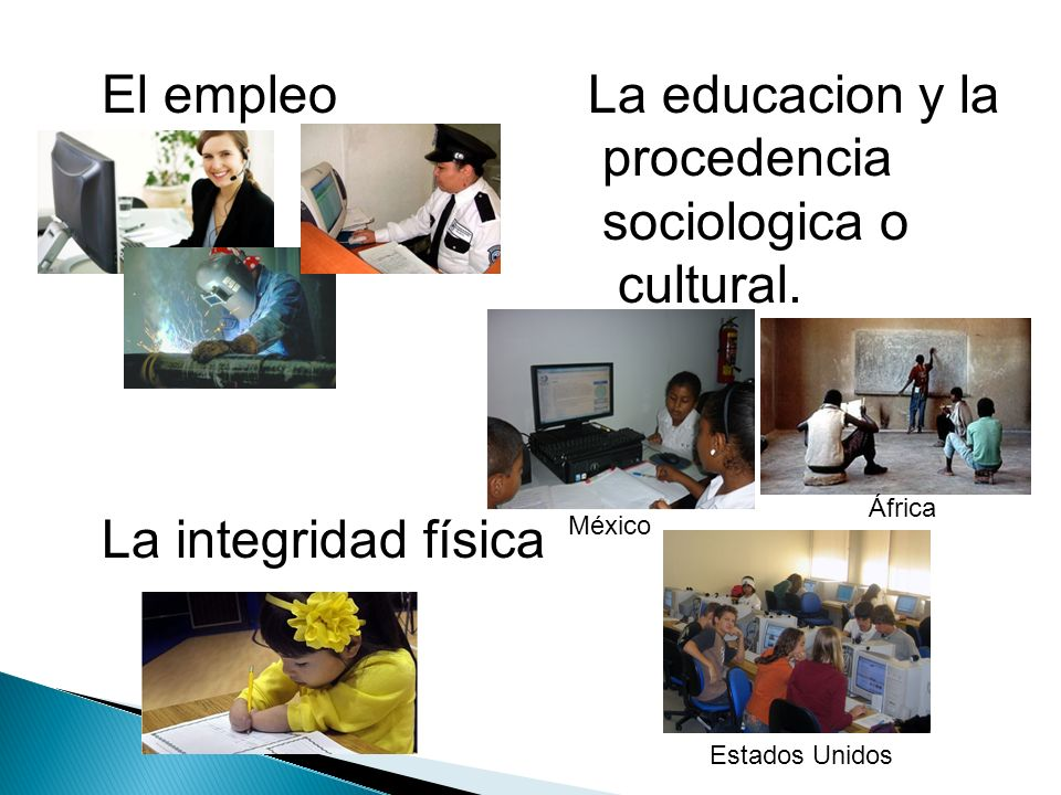 El empleo La educacion y la procedencia sociologica o cultural.