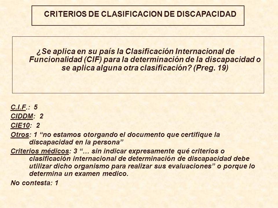 CRITERIOS DE CLASIFICACION DE DISCAPACIDAD