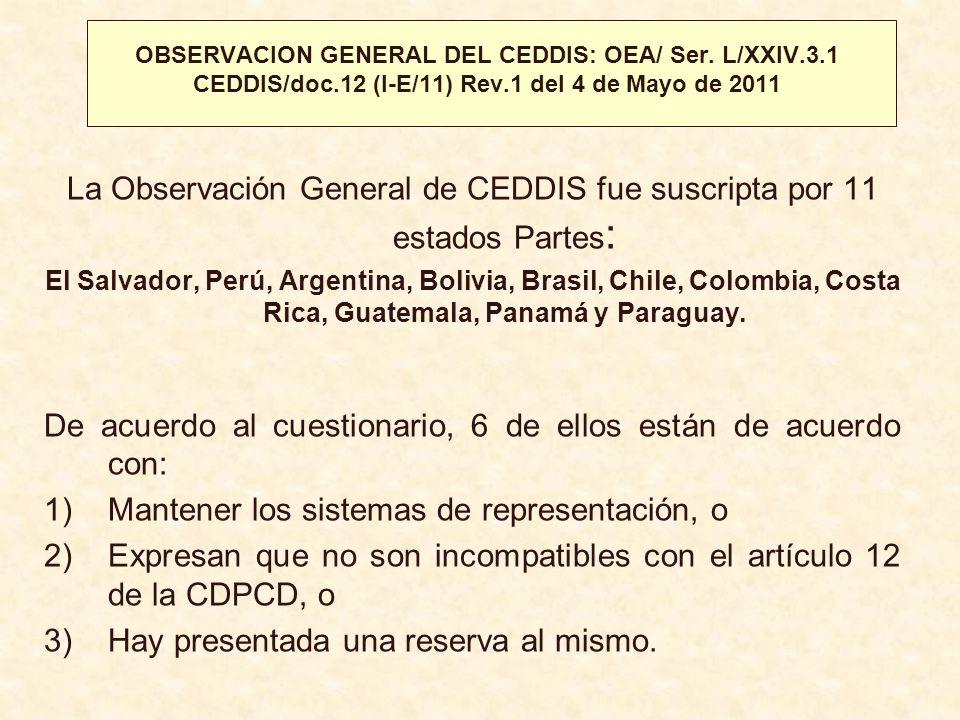 La Observación General de CEDDIS fue suscripta por 11 estados Partes: