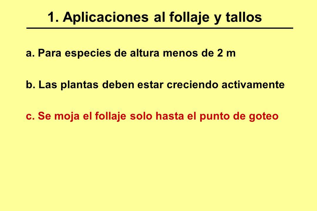 1. Aplicaciones al follaje y tallos