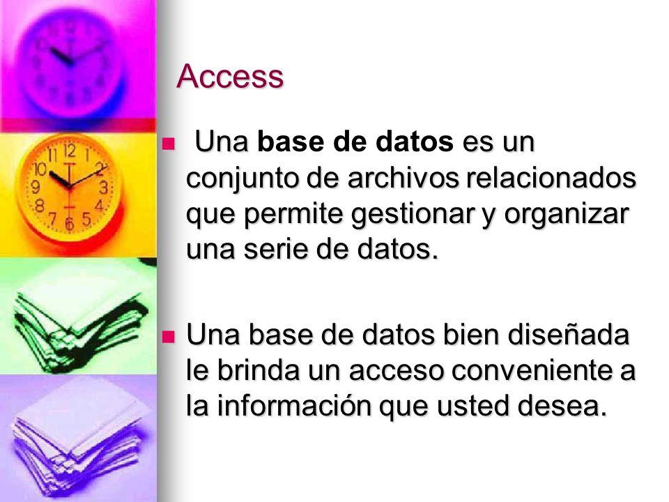 Access Una base de datos es un conjunto de archivos relacionados que permite gestionar y organizar una serie de datos.
