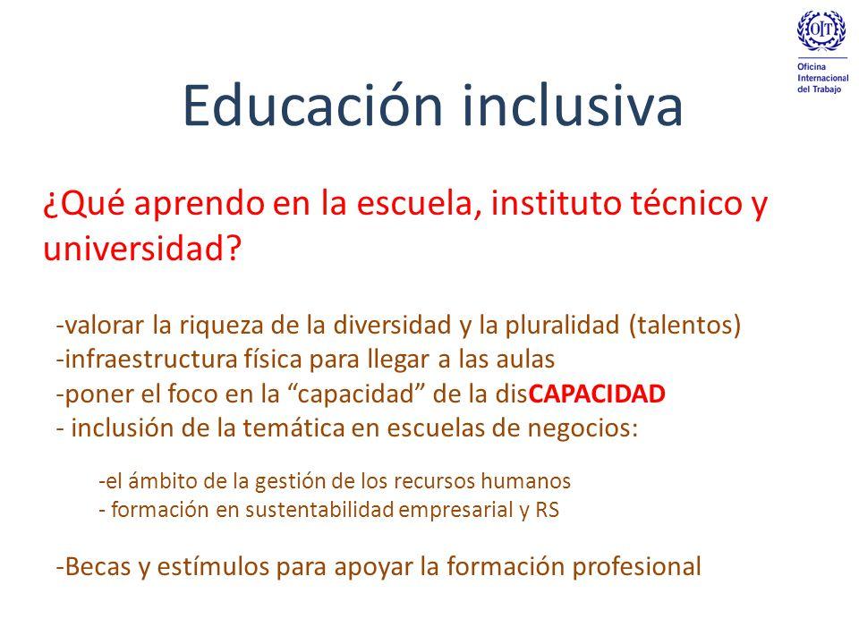 Educación inclusiva ¿Qué aprendo en la escuela, instituto técnico y universidad valorar la riqueza de la diversidad y la pluralidad (talentos)