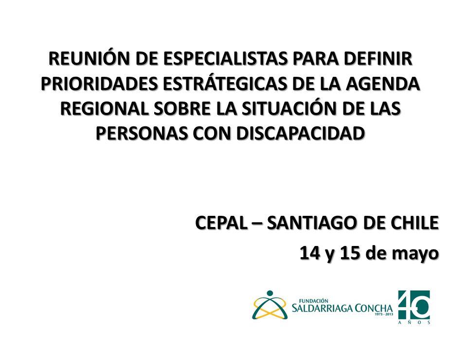REUNIÓN DE ESPECIALISTAS PARA DEFINIR PRIORIDADES ESTRÁTEGICAS DE LA AGENDA REGIONAL SOBRE LA SITUACIÓN DE LAS PERSONAS CON DISCAPACIDAD CEPAL – SANTIAGO DE CHILE 14 y 15 de mayo