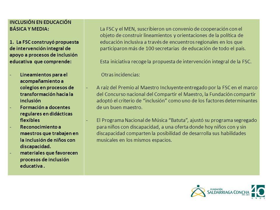 INCLUSIÓN EN EDUCACIÓN BÁSICA Y MEDIA: