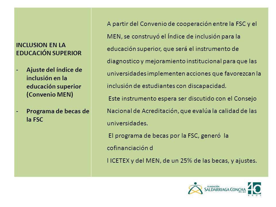INCLUSION EN LA EDUCACIÓN SUPERIOR
