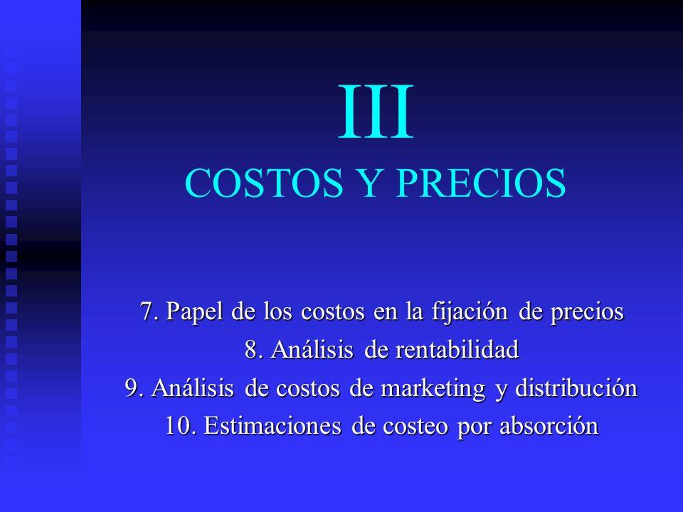 III COSTOS Y PRECIOS 7. Papel de los costos en la fijación de precios