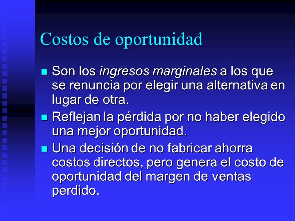 Costos de oportunidad Son los ingresos marginales a los que se renuncia por elegir una alternativa en lugar de otra.